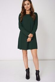 GREEN A LINE DRESS EX-BRANDED AVAILABLE IN PLUS SIZES New