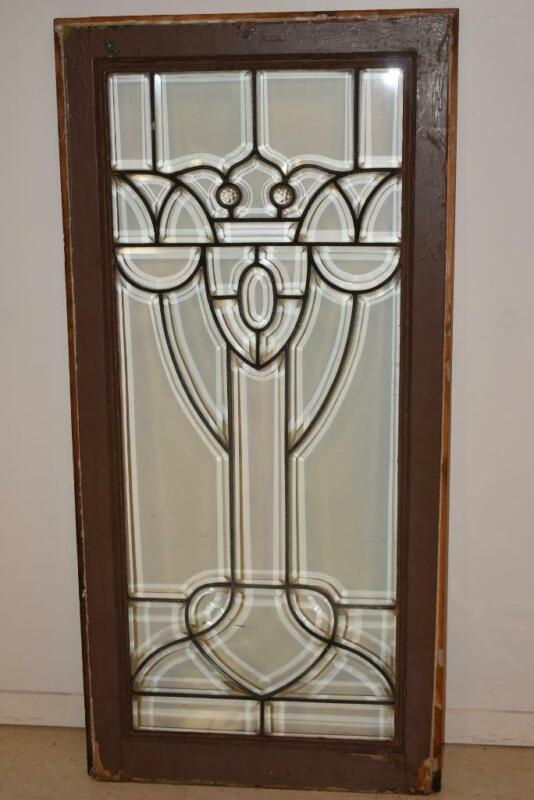 Antique Beveled Glass Window with Jewels c 1910