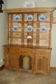Lovely Large Old Yellow Coloured Pine Dresser
