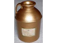 Antique gold colour earthenware flagon
