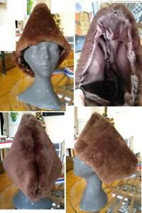 MENS CUSTOM Hand-Sewn Warm SHEEPSKIN SHEARLING and REAL FUR HATS - Cossack Style - Any size you like