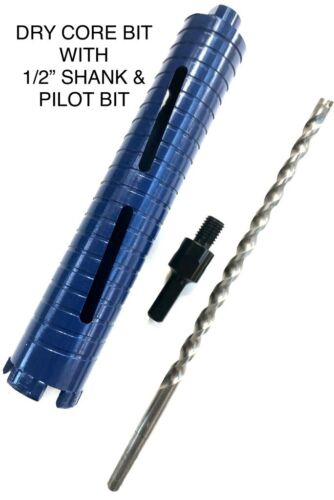 "2 1/2"" Dry Diamond Core Drill with Pilot Bit 1/2"" Shank Chuck Arbor adapter 2.5"""