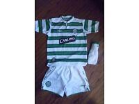 Boys Celtic green/white football kit - medium boys