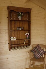 Rustic farmhouse solid waxed pine wall shelves, display cabinet, bookcase, dresser