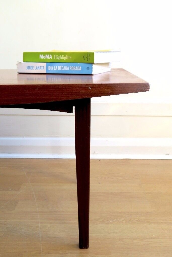 vintage 'vanson' walnut danish style coffee table. delivery