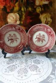 Spode Pink Camilla 1883 Plates × 2