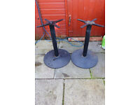 Two cast Iron stands - planters - table - base - 28 inch high .