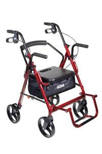 NEW Duet Dual Function Transport Wheelchair Walker Rollator, Burgundy
