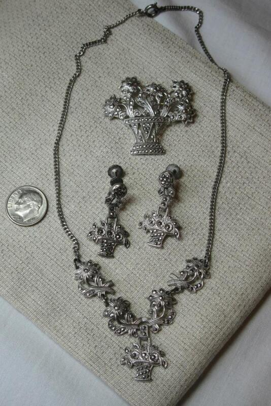 Art Deco Earrings Necklace Pin Flower Basket Sterling Silver Marcasite 1920 Rare