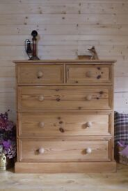 Farmhouse rustic solid waxed pine wood chest of 2 over 3 drawers