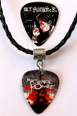 My Chemical Romance Guitar Pick Double Sided Black Necklace + MCR Plectrum