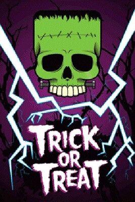 Trick or Treat Glow in the Dark Frankenstein Skull Halloween Poster - - Halloween Trick Or Treat Posters