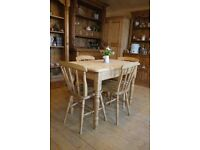 Farmhouse solid waxed pine small table and chairs x 4 lovely old elm/beech