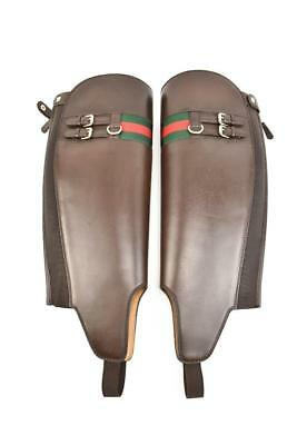 GUCCI: Brown Leather, Boot Shaft Gaiters - One Size