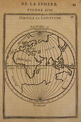 1683 Genuine Antique Map Eastern Hemisphere. Early Longitude lines. A M Mallet