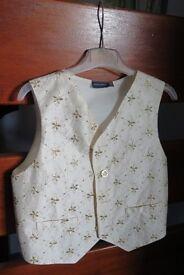 Boys Waistcoat. New. Debenhams. Cream Silk with Gold Trim. Age 9-10.