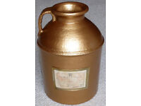 Gold colour Corvoisier earthenware flagon / demijohn