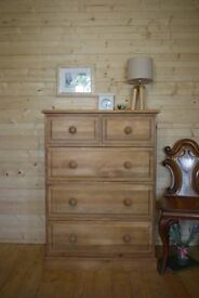Rustic farmhouse solid waxed pine wood 2 over 3 chest dovetailed drawers