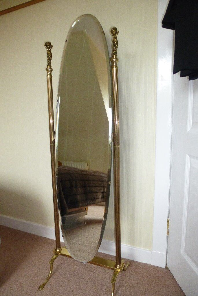 Antique Brass Cheval Mirror