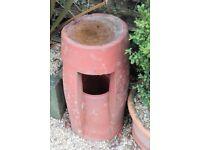 Vintage terracotta chimney pot planter/bird bath