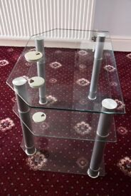 TV Stand, clear glass, 3-shelf, very solid, very good condition