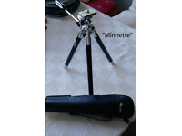 COLLECTION OF VINTAGE TRIPODS, MINI PODS, HEADS, & ACCESSORY HOLDER.