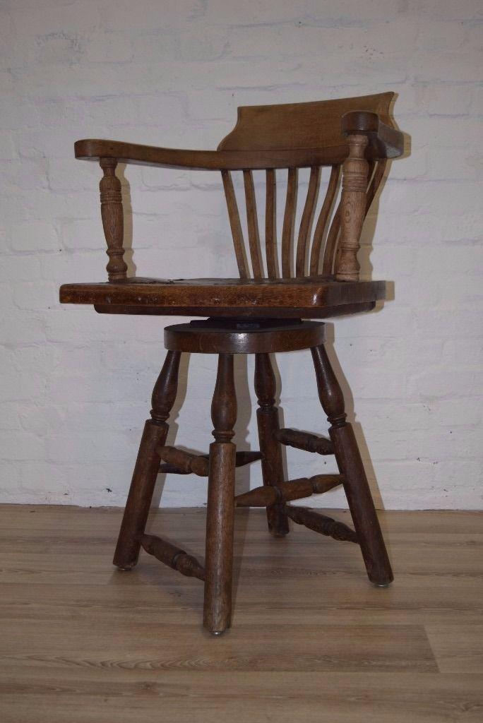 Antique Oak Swivel Captains Chair (DELIVERY AVAILABLE