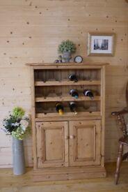 Farmhouse solid wood rustic pine cupboard wine rack cabinet storage dresser unit