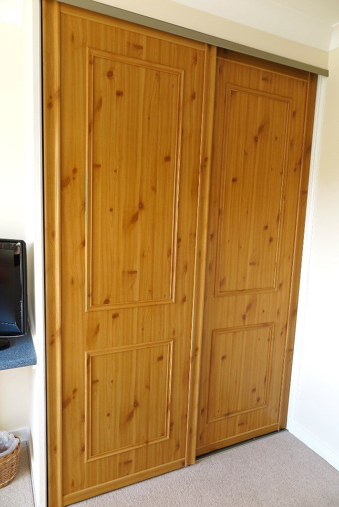Pine Effect SLIDING WARDROBE DOORS (x2) ...... just £59 for the pair!