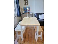Classy Chiltern 115cm Oak and White Dining Table Set with Benches