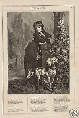 Victorian Girl and Dog Wait For Him w Nice Poem Vintage 1874 Antique Art Print