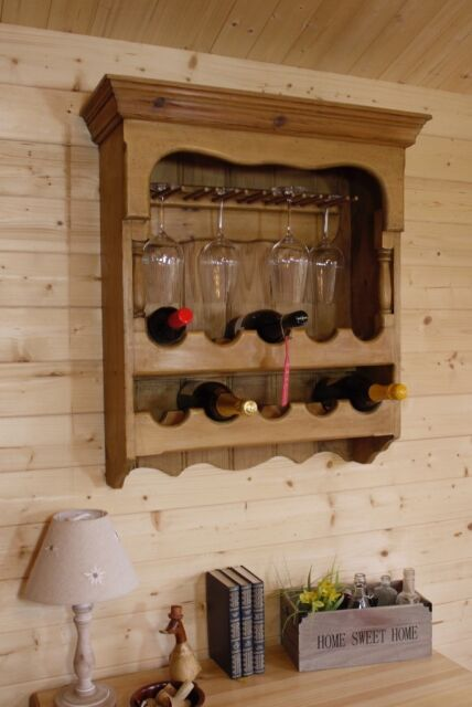 Wall Hanging Rustic Solid Waxed Pine Wood Wine Rack Holds 10 Bottles And Glasses In Selby North Yorkshire Gumtree