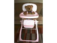 Highchair ideal for travelling and collapses to minimal storage