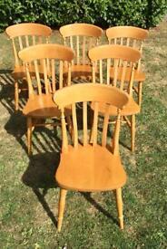 6 Pine/Beech Chairs