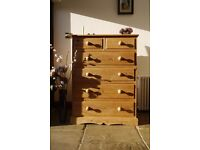 Very Large beautiful quality solid pine farmhouse waxed chest of drawers