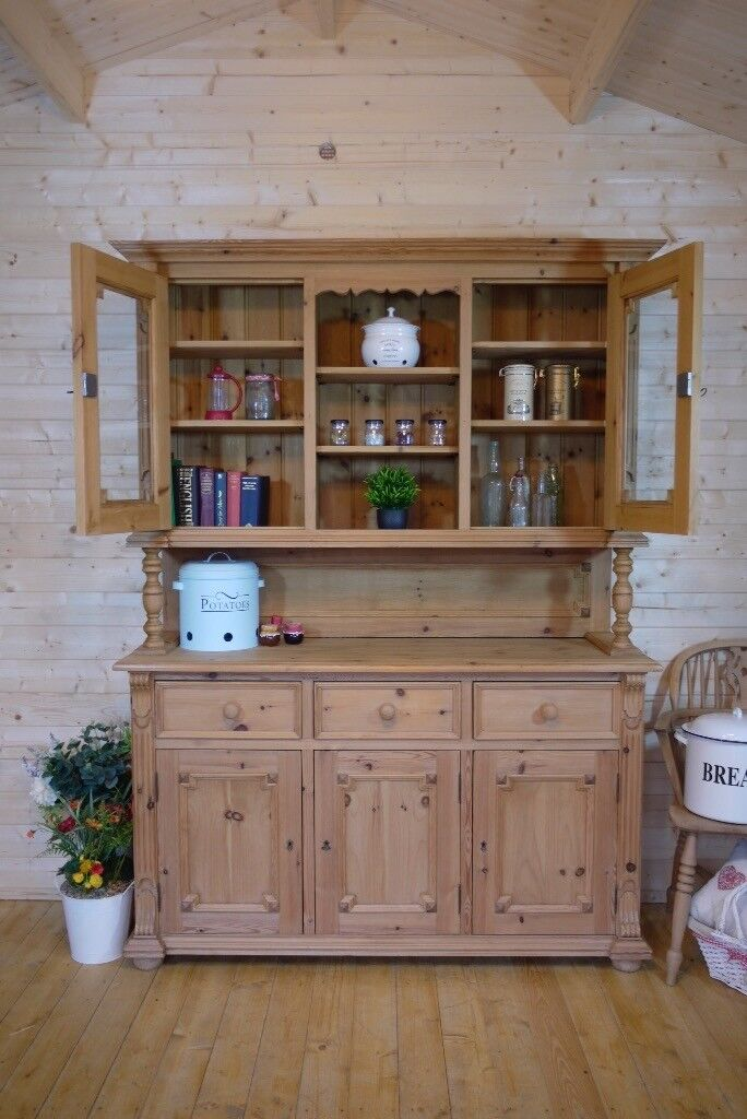 Farmhouse rustic solid waxed pine dresser cupboard cabinet chest sideboard unit