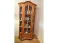 Pine Display Cabinet Glass