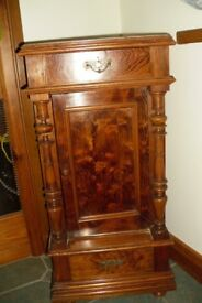 Lovely Walnut Marble Topped Display Stand / Cupboard