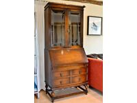 Antique Upright glass fronted Bookcase/bureau