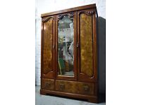 Burr Walnut Triple Wardrobe (DELIVERY AVAILABLE)