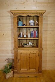 Rustic ornate solid waxed pine display cabinet bookcase unit cupboard dresser