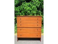 Vintage 'Meredew' Danish style teak chest / tallboy. Delivery. Mid century / modern style.