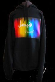 Unisex Black Named English Arabic Customized Hoodies