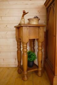 Beautiful solid waxed pine table, lamp stand, occasional table.