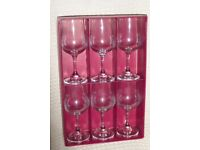 Wine Glasses, DEMA Vintage 6 Goblets with Fine Rim, Boxed, Histon