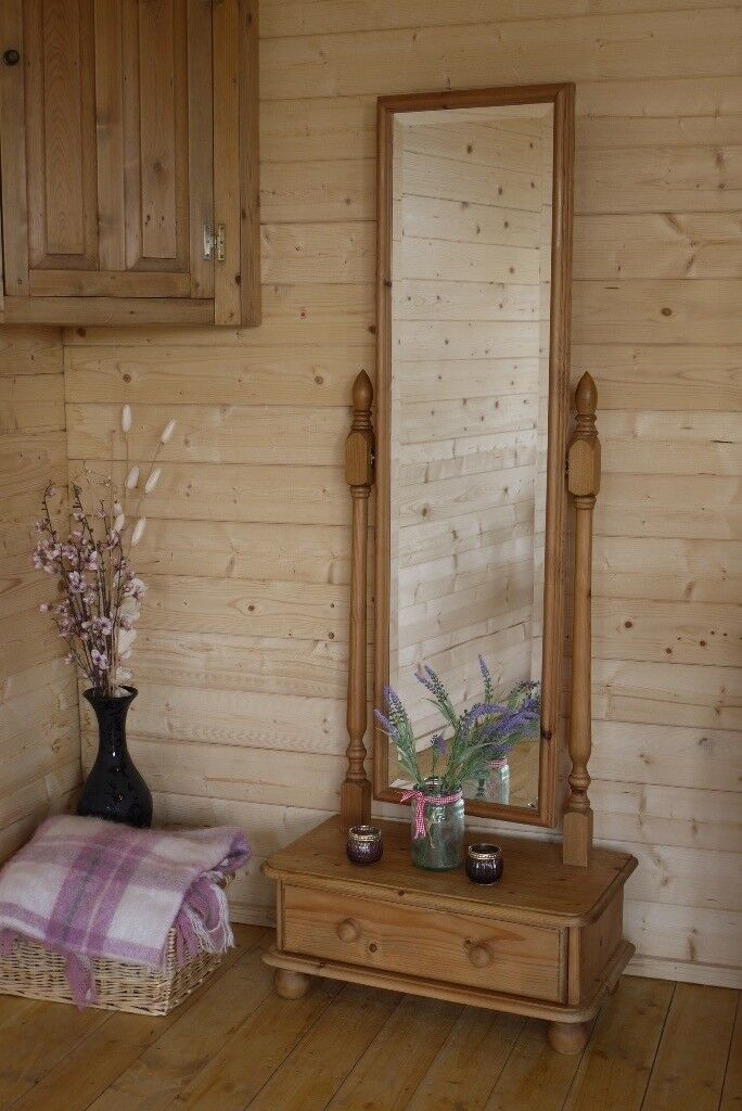Farmhouse Solid Wood Rustic Pine Freestanding Mirror With Drawer Long