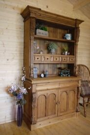 Large rustic solid waxed Keen pine dresser display cabinet unit cupboard