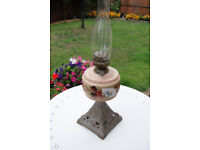 ANTIQUE OIL LAMP WITH SPARE GLASS