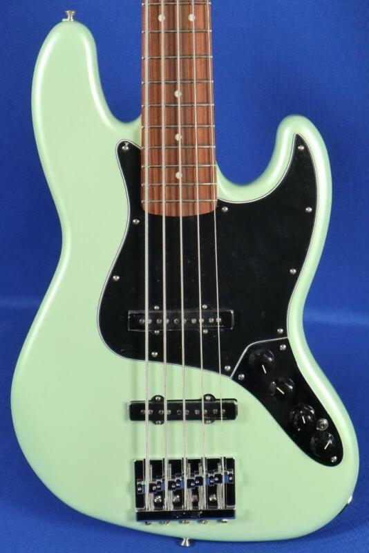 Fender Deluxe Active Jazz V Surf Pearl Electric Bass Guitar w/ Gig Bag