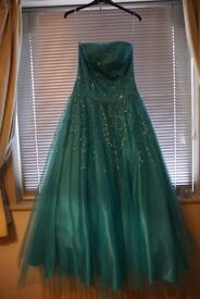 Turquoise ball/prom princess dress size 12